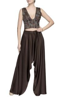 Dark brown draped pants