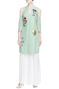 Mint green embroidered kurta