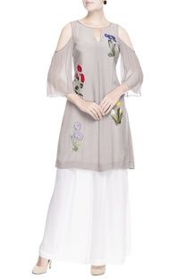 Grey cold-shoulder kurta