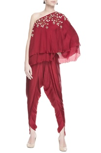 Maroon one shoulder kurta & dhoti pants
