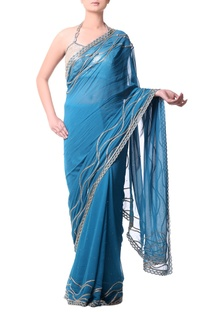 Turquoise Blue sari with gold buged embroidery