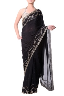 Black sari with gold buged embroidery