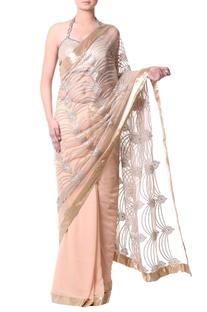 Gold sari with metallic thread embroidery