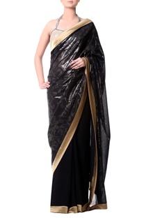 Black gold border sari