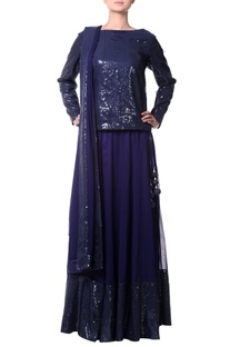 Navy blue lehenga with sequence border
