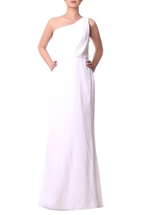 White one-shoulder gown