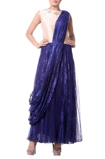 Royal blue embroidered sari gown