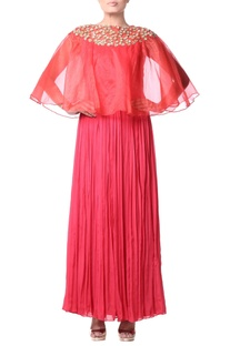 Red pleated cape dress