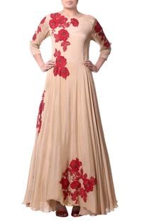 Beige floral asymmetric dress