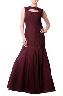 Burgundy mermaid pleated gown