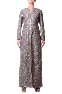Gray jacket dress with floral Jaal embroidery
