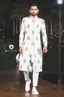 White zardozi embroidered sherwani