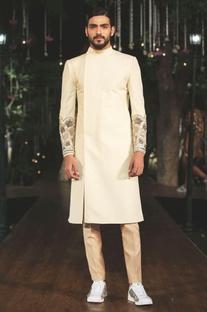 White kundan work sherwani