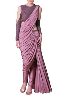 Purple embellished sari
