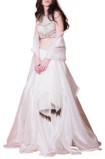White embellished lehenga & dupatta