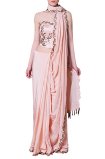 Pink embroidered concept sari.