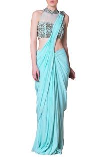 Sky blue floral embroidered sari