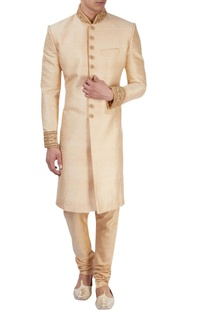 Beige sherwani with zari embroidery