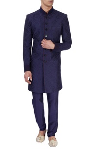 Navy blue sherwani & churidar