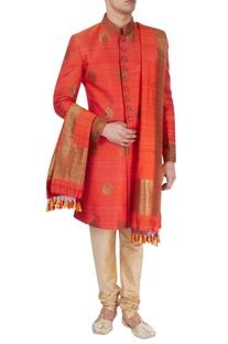 Rust orange thread work sherwani