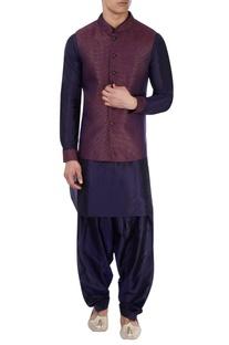 Blue kurta & multicolored Nehru jacket