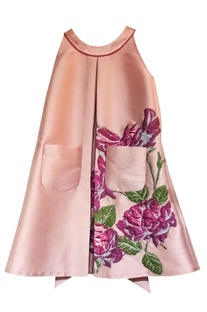Pink floral embroidered dress