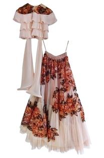 Dusty pink sequins & threadwork lehenga set