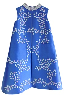 Blue circular applique work dress
