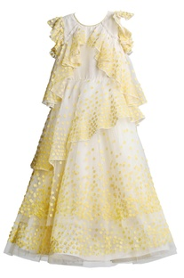 Offwhite ruffled dress with yellow applique