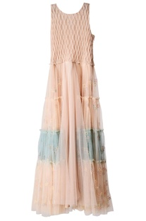 Dusty pink and aqua tiered dress