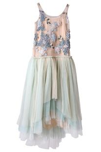Dusty pink and aqua asymmetric dress