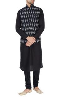 Black ikkat print Nehru jacket