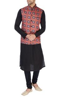 Red ikkat print Nehru jacket