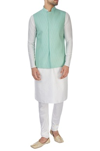 Sea green silk Nehru jacket