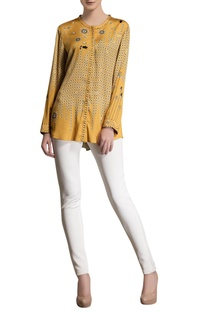 Mustard yellow printed top