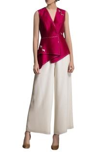Fuschia pink printed silk top