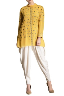 Mustard yellow embroidered top