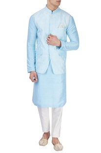 Ice blue embroidered bandi jacket