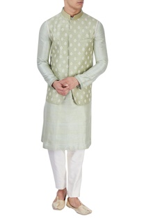 Pista green embroidered bandi jacket