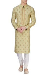 Pista green embroidered kurta