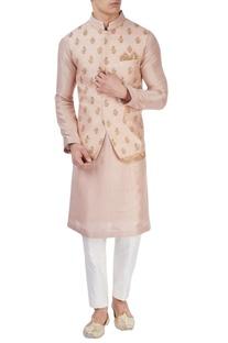 Pastel pink embroidered bandi jacket
