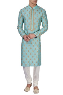 Pastel blue embroidered kurta