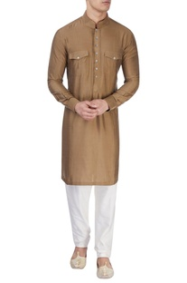 Brown silk long kurta
