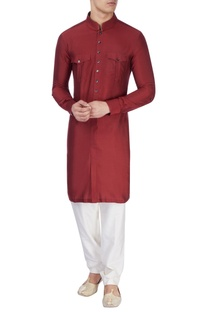 Maroon silk long kurta