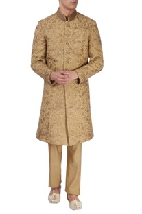Gold green silk sherwani