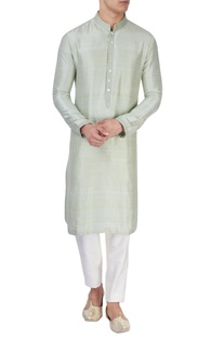 Pista green silk kurta