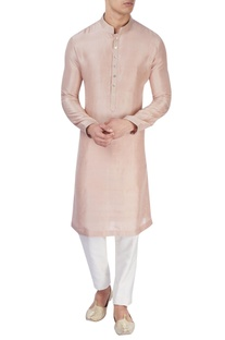 Pastel pink silk kurta