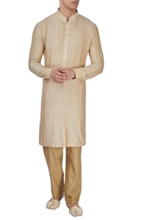 Beige raw silk textured kurta