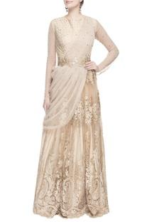 Beige swarovski embroidered sari gown