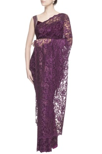 Aubergine purple chantilly lace sari